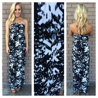 Black & White Farrah Strapless Maxi Dress