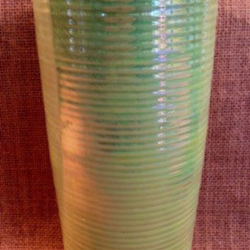 Irridescent lime green ribbed vase