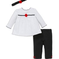 Little MeInfant Girls' Dot Tunic, Leggings & Headband Set - Sizes 3-12 Months