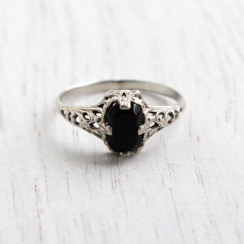 Vintage 14K White Gold Filigree Ring - Antique Art Deco Knuckle, Midi, Pinky Size 3 Black Stone Fine Jewelry / Onyx Black