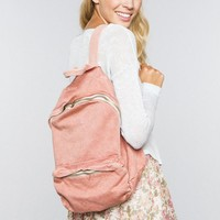 Washed fabric backpack