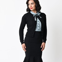 1950s Style Black Long Sleeve Cable Knit No Doubt Cardigan
