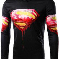 Black Superman Blood Logo Print Long Sleeve T-Shirt
