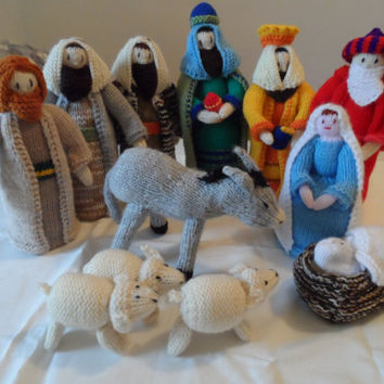 Nativity Set -  Nativity Scene Knitted - Christmas Nativity Scene - Handmade Nativity Scene - Nativity Set Handmade - Christmas Decoration