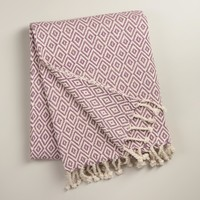 Purple Diamond Weave Throw