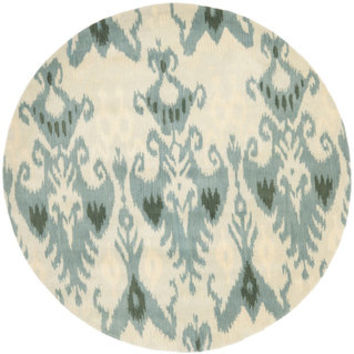 Handmade Ikat Silver/ Blue Wool Rug (6' Round) | Overstock.com