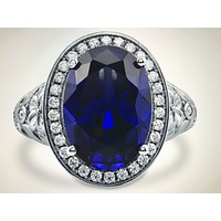 A Perfect Art Deco 6CT Oval Cut Blue Sapphire Halo Ring