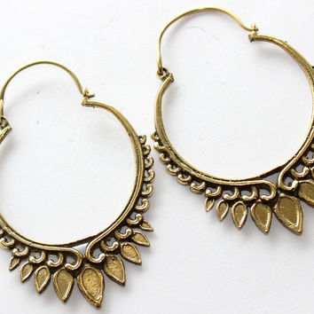 Engraved Hoop Earrings, brass earrings, brass earrings, tribal brass jewelry, tribal brass earrings, gypsy earrings , Mother Earrings
