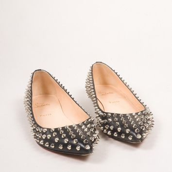 CREY3D5 Christian Louboutin Black Leather Spike Embellished Pigalle Flats