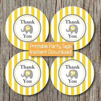 Elephant Yellow Grey Baby Shower Favor Labels Thank You Stickers Bag Tags Birthday Printable diy INSTANT DOWNLOAD PDF - 143