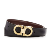 Reversible Leather Belt Boxed Gift Set, Black/Brown, Size: