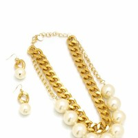 oversized-pearl-chain-necklace-set GOLDIVORY - GoJane.com