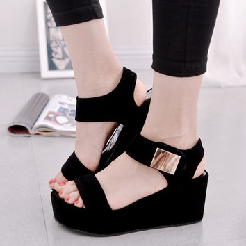2017 free shipping women sandals platform wedge heel shoes soft summer ankle strap for woman High-heeled shoe big size 41