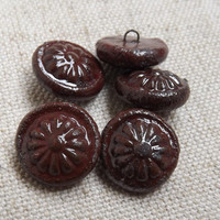 5 Ceramic buttons, round button, raku