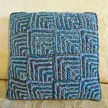 Reversible Throw Pillow, Handspun Scatter Cushion, Blue & Turquoise Pillow, Reversible Knitted Cushion, Handspun Knit Cushion, Unique Yarn