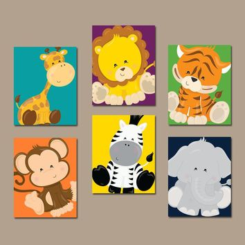 JUNGLE Animals Wall Art, Jungle Animals Nursery Decor, Safari Animals CANVAS or Prints Zoo Animal Theme, Jungle Animals Pictures, Set of 6