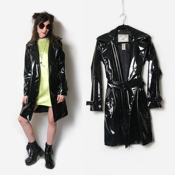 Black PVC Trench Coat // Black Trench Coat / Goth Jacket // Cyber Goth Jacket / Long PVC Jacket / PVC Jacket / Size Medium / 90s Goth Grunge