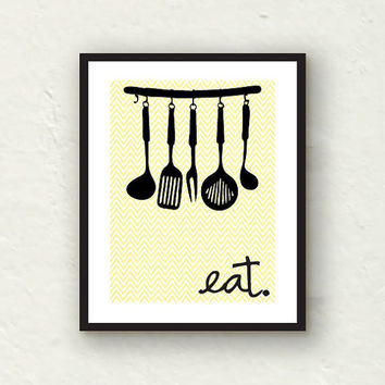 Kitchen Art - Fork Spoon and Knife- Kitchen Utensils Eat sign - 8x10 Graphic Art Print