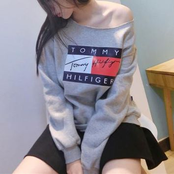 """Tommy Hilfiger"" Off Shoulder Top Sweater Pullover Sweatshirt"