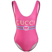 GUCCI Fashionable Women Casual Print Vest Type One Piece Bikini Swimsuit Bodysuit Rose Red