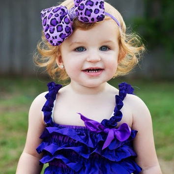 Big Puffy Hair Bow in Purple Leopard Print Fabric with Purple Glitter Accent