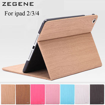 Wood Grain Flip Ultra Thin Foldable Stand Leather Case for ipad 2 ipad 3 ipad 4 Smart Cover for apple ipad 2 3 4 automatic sleep