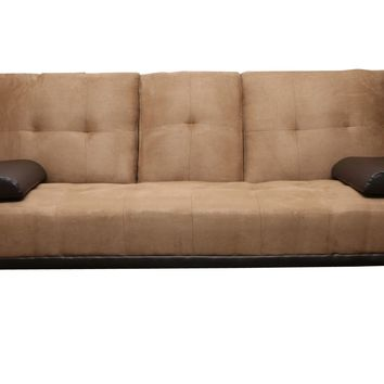Beige Vinyl Leather Finish Futon Sleeper Sofa Bed
