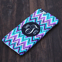 Monogram Abstract Turquoise and Violet Chevron Design iPhone 6 Case/Plus/5S/5C/5/4S Case #1003