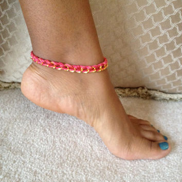Woven Chain Anklet - Multiple Colors Available