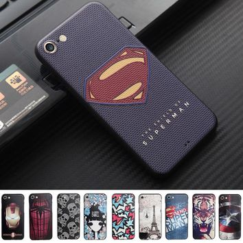 Coque Fundas for iphone 8 7 6 6S plus Case 3D Relief Superman Captain America Soft phone cases for iphone  SE 5 5S Tiger Ironman