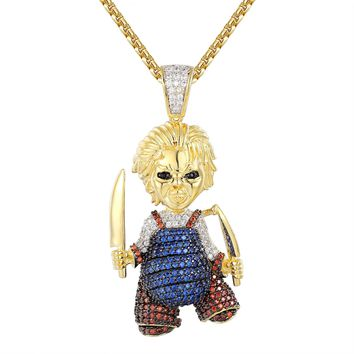 Hip Hop Chucky Knife Cartoon Iced Out Pendant Necklace