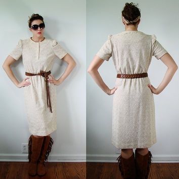 VINTAGE 1960s Cowgirl Dress NUBBY Barkcloth Lace & Leather Western Prairie