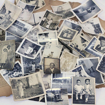 Over 50 Black White Vintage Snapshots 40s-50s African American | Old Family Album Photos Lot | James J. Metcalfe Newspaper Clippings