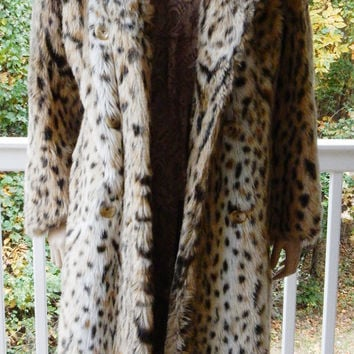 Leopard Print Coat Full Length Faux Fur Coat Astraka Faux Fur Coat Woman's Coat