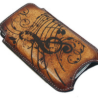 Slim Cell Phone Leather Sleeve Music & Me by joevleather on Etsy