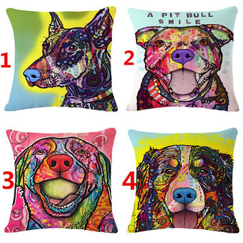 Square Cotton Linen colourfu Bull Terrier Painted Bull dog One Side Printed cheap Cushion Cover For Home Sofa Pillow Case 3D