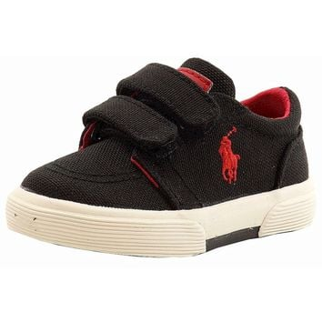 Polo Ralph Lauren Toddler Boy's Faxon II EZ Black Canvas Fashion Sneaker Shoes