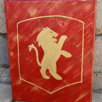 Gryffindor Canvas Wall Art, Original Hand Painted Gryffindor House Crest Art, Harry Potter Art