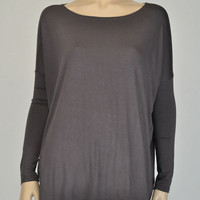 Dark Grey Long Sleeve Piko Top from Rad and Lux