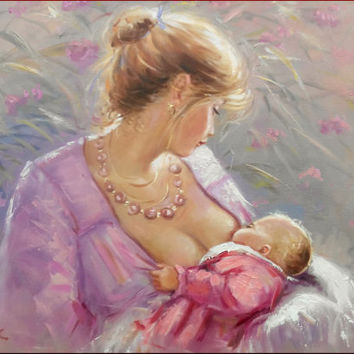 Italian painting Maternity n1 ORIGINAL oil  on canvas of Salvatore Rodriguez 50x70 cm