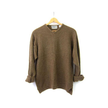 Brown Nubby Textured Sweater Minimal Casual Preppy Vneck Sweater Vintage Italian Sweater Simple Basic Men's Size Large