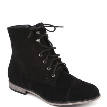 Black Poppy Lana Lace Up Black Boots - Womens Boots - Black