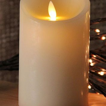 "5"" Ivory Luminara Flickering Flameless LED Lighted Outdoor Pillar Candle"
