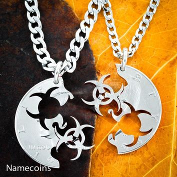 Steampunk Jewelry, Biohazard Necklace, Relationship set, Toxic Friendship. Cut by Hand Half Dollar