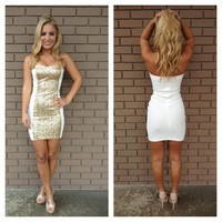 White Strapless Sequin Block Mini Dress