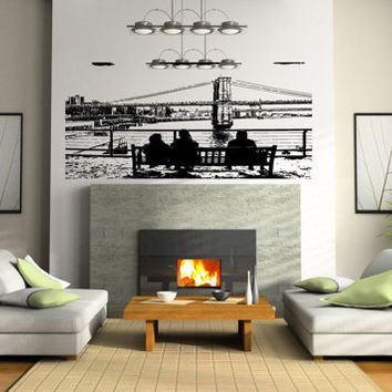Verrazano Brooklyn Bridge State of New York Wall decor Mural Decal vm005