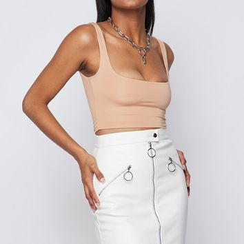 Biker Babe Faux Leather Mini Skirt White