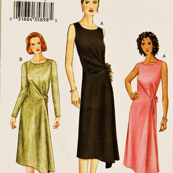 Vogue Pattern 7669 Asymmetrical Hem Mock Wrap Dress PLUS Szs 14-18 Uncut FF Figure Flattering Career Wear Dress Sewing Patterns Supplies
