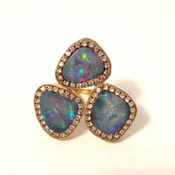 V-SALE Fiery Opal Doublet trio and austrian crystal 18kt gold vermeil Ring