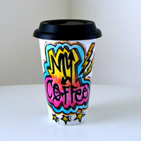 Ceramic Travel Mug Graffiti Lightning Bolts Stars Coffee Cup Hand Painted Attitude Hipster Street Urban Painted Rainbow Neon